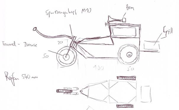 Hot Rod Handcart freehand sketch Skizze